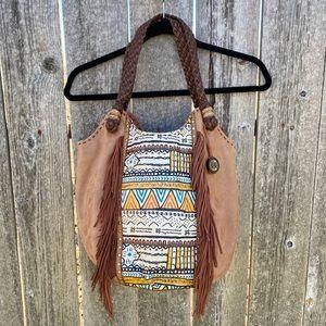 The Sak Brown Boho Southwest Leather Fringed Bag